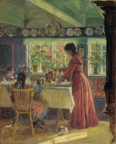 Pouring the morning coffee Laurirs tuxen